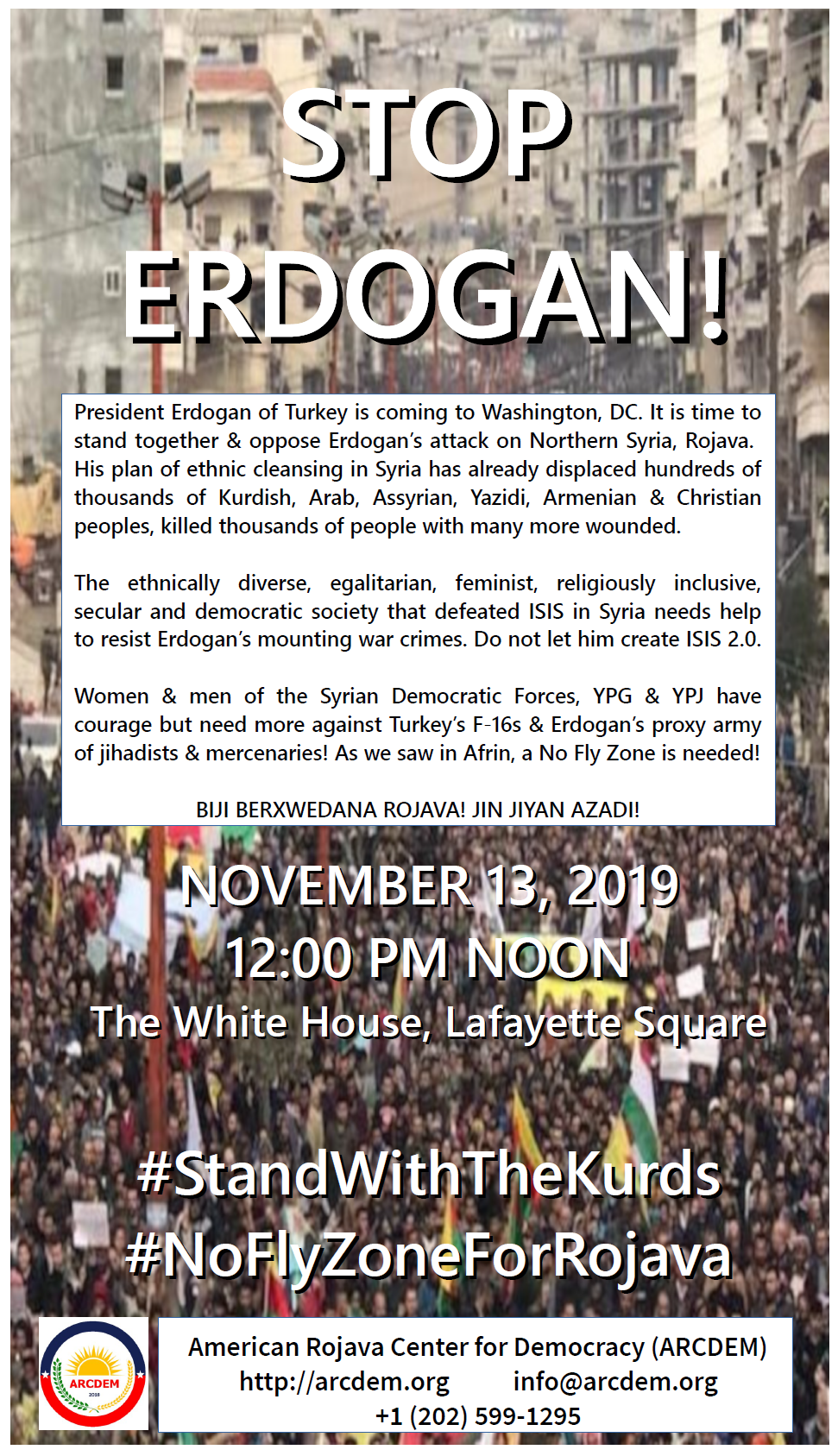 Stop Erdogan November 13 protest flyer